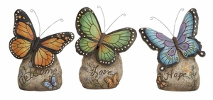 Polystone Butterfly 3 Assorted 12 Inch Height, 9 Inch Width, Showpiece Brand Woodland