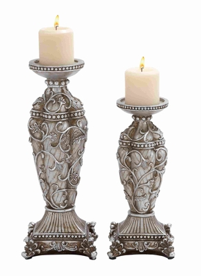 "Polystone Candle Holder with Classic Design 16"" H Set of 2 Brand Woodland"