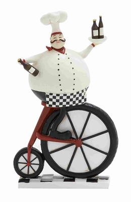 """Polystone Chef 12"""" with Holding Cake Design in White and Black Brand Woodland"""