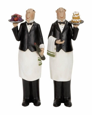 Polystone Chef Decor Set of 2, Chef with Wine Bottle, Cake, 12 Inch Tall