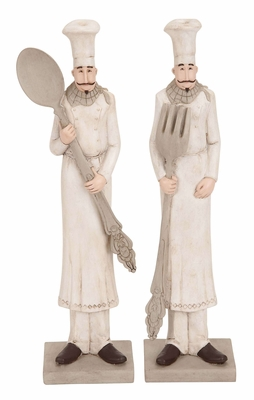 Polystone Chef Figurines 2 Assorted An Eye-Catching Dining Area Decor Brand Woodland