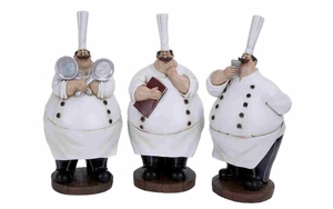 Polystone Decor Set - Fat Chef Polystone Figure - Set of 3 Brand Woodland