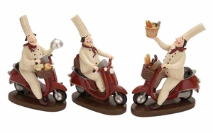 Polystone Decor Set - French Chef Delivery - Set of 3 Brand Woodland