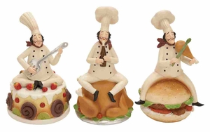 Polystone Decor Set - French Chef Polystone Figure - Set of 3 Brand Woodland