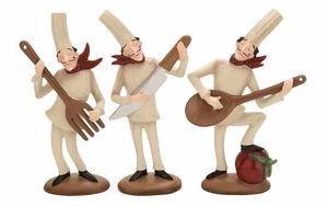 Polystone Decor Set - French Chef Serenading - Set of 3 Brand Woodland
