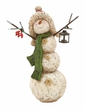 "Polystone Decorative Snowman w/ Candle Holder 16""W, 22""H by Woodland Import"