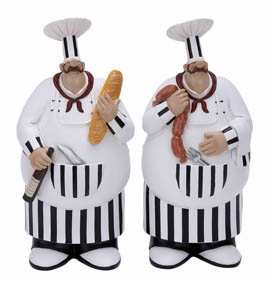 Polystone Fat Chef Decor - Polystone Fat Dinner Chefs - Set of 2 Brand Woodland