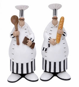 Polystone Fat Chef Decor - Polystone Fat Pastry Chefs - Set of 2 Brand Woodland