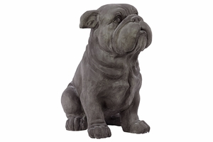 Polystone Fiberstone Cute Grey Sitting Dog