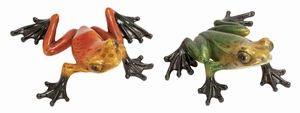 Polystone Frogs Statue Sculpture in Metallic Finish - Set of 2 Brand Woodland