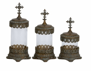 Polystone Glass Canister Set/3 With Religious CROSS At Top Brand Woodland