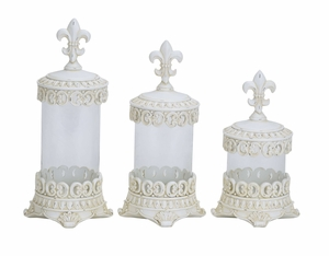 Polystone Glass Canister Set/3 With Shabby White Fleur Di Lis Glass Theme Brand Woodland