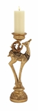 """Polystone Golden Reindeer Candle Holder 6""""W, 19""""H by Woodland Import"""