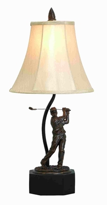 Polystone Golfer Lamp in Brown Color with Elegant Design Brand Woodland