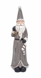"""Polystone Gray Santa Clause w/ Gifts 11""""W, 34""""H by Woodland Import"""