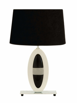 Polystone Metal Table Lamp with Black and White Lampshade Brand Woodland