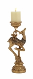 """Polystone Prancing Reindeer Candle Holder in Gold 5""""W, 15""""H by Woodland Import"""