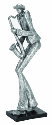 Polystone Sax Musician Sculpture D�cor in Silver Finish Brand Woodland
