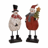 """Polystone Snowman Set of 2 in White & Red Assorted 24""""H, 8""""W (Large) by Woodland Import"""