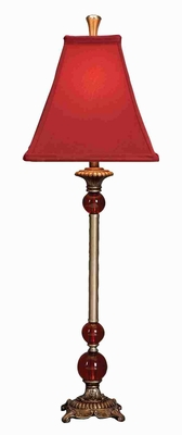 Polystone Table Lamp in Red Finish with Artistic Design Brand Woodland