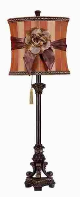 Polystone Table Lamp with Flowery Bow in Maroon and Brown Brand Woodland