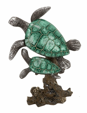 Polystone Turtle Garden Turtle Statue, 2 Climbing Turtles, Small 8 Inch ht Brand Woodland