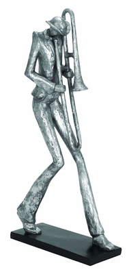 Polystone Unique Trombone Musician Décor Sculpture Brand Woodland
