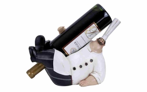 Polystone Wine Holder - Fat Chef Polystone Lounging Figure Brand Woodland