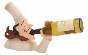 Polystone Wine Holder - French Chef Polystone Figure Brand Woodland