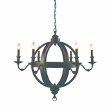Ponderosa Attractive Styled 6 Light Mini Chandelier with Black Finish by Yosemite Home Decor