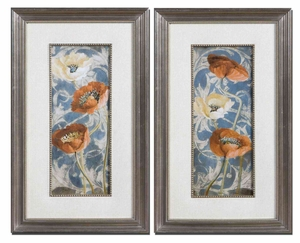 Poppies De Bleu Floral Art in Bronze Finish - Set of 2 Brand Uttermost
