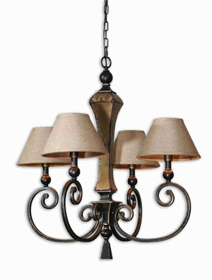 Porano 4 Light Shade Chandelier With Rust Green Ceramic Brand Uttermost