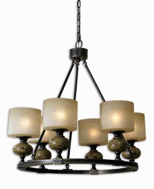 Porano 6 Light Frosted Chandelier With Rust Green Ceramic Brand Uttermost
