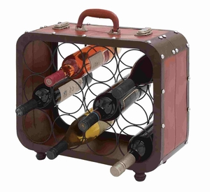 Portable Briefcase Shaped Metal Wine Holder Brand Benzara