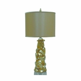 Portable Lamps Collection Attractive Styled Resin Table Lamp with Brown Fabric Shade by Yosemite Home Decor
