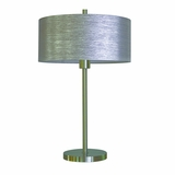 Portable Lamps Collection Striking Portable Table lamp in Satin steel Finish with Starlight Weave Shade by Yosemite Home Decor