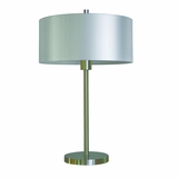 Portable Lamps Collection Styled Portable Table Lamp in Satin steel Finish with Pristine White shade by Yosemite Home Decor