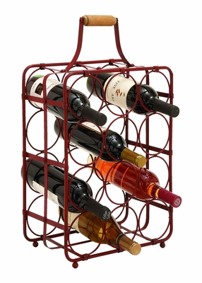 Portable Table Top Handle Wine Rack With Convenience Handle Brand Woodland