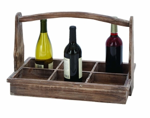 Useful And Portable Wine Bottle Basket With Aged Wood - 66788 by Benzara