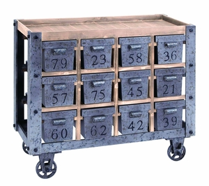 Portable Wood Storage Cart With Charming Numbered Drawers Brand Woodland