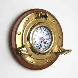 Porthole Clock - Seaside Port Hole Clock With Mahogany Brand IOTC