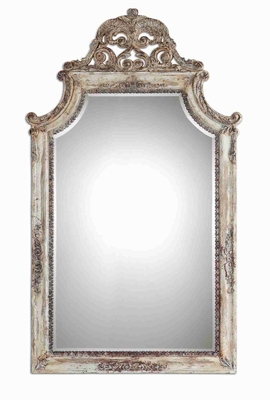 Portici Arched Wall Mirror with Antique Ivory Finish Frame Brand Uttermost