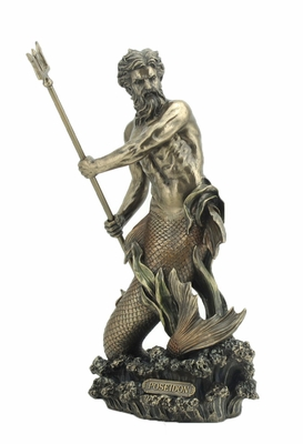 Poseidon Greek God of The Sea with Cold Cast Bronze Construction Brand Unicorn Studio