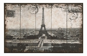 Postcard Styled Wall Art of Iconic Paris Eiffel Tower Brand Woodland