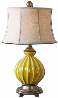 Pratella Burnt Yellow Table Lamp with Detailing Brand Uttermost