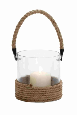Prato Bright Lantern With Sturdy Rope Handle Brand Benzara
