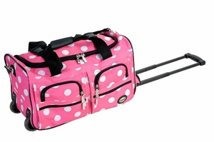 "PRD322-PINKDOT 22"" Rolling Duffle Luggage Bag"