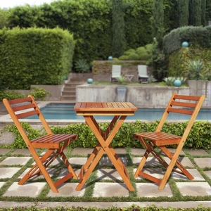 Premium Hardwood 3-Piece Bistro Set (1 Table & 2 Chairs) by Vifah