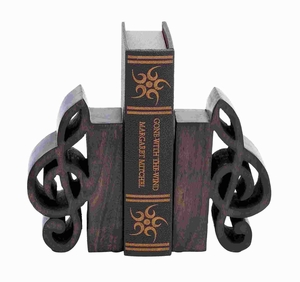 Premium Quality Wood Book End Pair Adorned with Rich Finish Brand Woodland
