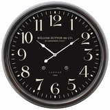 Prestigious Circular Black Iron Wall Clock with glass by Yosemite Home Decor
